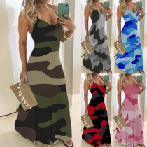 Sexy Backless V-neck Camouflage Printed Sling Dress