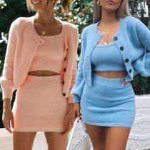 Sexy Sling Crop Top + Skirt + Cardigan Three-piece Set