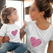 Fashion Heart Printed Short Sleeve Round Neck Parent-child T-shirt