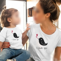 Cute Bird Printed Short Sleeve Round Neck Parent-child T-shirt