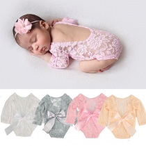Stylish Backless Long Sleeve Lace Bodysuit for Babies