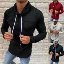 Fashion Solid Color Long Sleeve Cowl Neck Man's Shirt