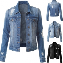 Fashion Long Sleeve POLO Collar Ripped Denim Coat