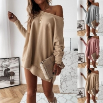 Fashion Solid Color Long Sleeve Round Neck Loose Sweatshirt