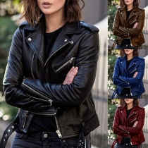 Fashion Solid Color Lapel Oblique Zipper Slim Fit PU Leather Coat