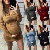 Fashion Solid Color Long Sleeve V-neck Knit Maternity Dress