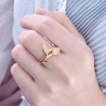 Fresh Style Imitation Opal Inlaid Leaf Ring