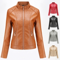 Fashion Solid Color Long Sleeve Stand Collar Slim Fit PU Leather Coat