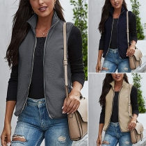 Fashion Solid Color Stand Collar Vest