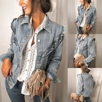 Fashion Long Sleeve POLO Collar Ruffle Denim Coat
