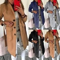 Fashion Solid Color Long Sleeve Notched Lapel Wolen Coat