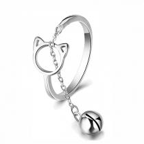 Cute Style Bell Pendant Hollow Out Cat Shaped Ring