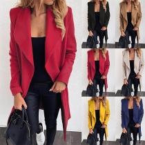Fashion Solid Color Long Sleeve Lapel Woolen Coat