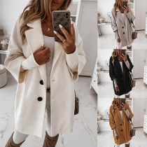 Fashion Solid Color 3/4 Sleeve Single-breasted Woolen Coat