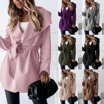 Fashion Solid Color Long Sleeve Big Lapel Windbreaker Coat