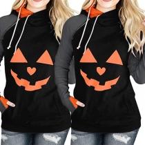 Fashion Contrast Color Long Sleeve Hooded Pumpkin Printed Sweatshirt