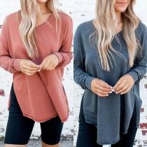 Fashion Solid Color Long Sleeve V-neck Slit Hem T-shirt