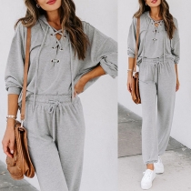 Fashion Solid Color Lace-up V-neck Hooded Sweatshirt + Pants Two-piece Set