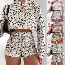 Fashion Tie-dye Printed Long Sleeve Hooded Plush Crop Top + Shorts two-piece Set