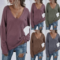 Simple Style Long Sleeve V-neck Solid Color Knit Top