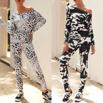 Fashion Leopard/Camouflage Printed Long Sleeve T-shirt + Pants Two-piece Set