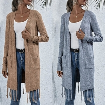 Fashion Solid Color Long Sleeve Tassel Hem Knit Cardigan