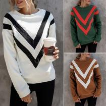 Fashion Striped Spliced Long Sleeve Round Neck Sweatshirt
