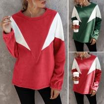 Fashion Contrast Color Long Sleeve Round Neck Sweatshirt