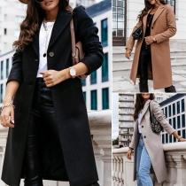 Fashion Solid Color Long Sleeve Notched Lapel Woolen Coat