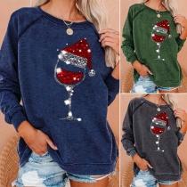 Cute Christmas Printed Long Sleeve Round Neck Sweatshirt