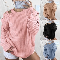 Sexy Off-shoulder Long Sleeve Round Neck Solid Color Sweater