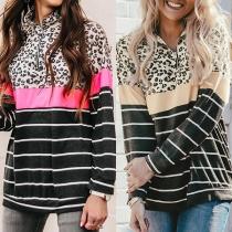 Fashion Leopard Spliced Long Sleeve Stand Collar Striped Sweatshirt