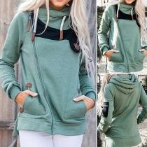 Fashion Contrast Color Oblique Zipper Long Sleeve Hooded Sweatshirt