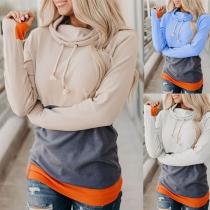 Fashion Contrast Color Long Sleeve Cowl Neck Sweatshirt