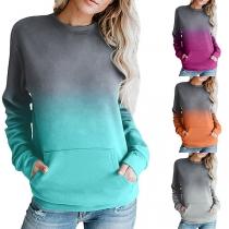 Fashion Color Gradient Long Sleeve Round Neck Sweatshirt