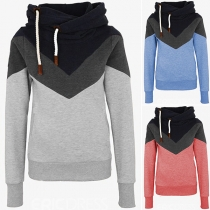 Fashion Contrast Color Long Sleeve Hooded Top