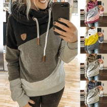 Casual Style Contrast Color Long Sleeve Hooded Sweatshirt