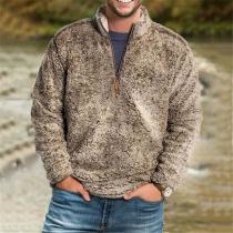 Fashion Long Sleeve Stand Collar Man's Plush Sweatshirt