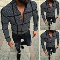 Casual Style Long Sleeve POLO Collar Man's Plaid Shirt