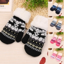 Cute Elk Pattern Faux Fur Spliced Knit Gloves for Kids
