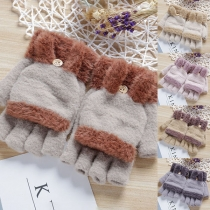 Cute Style Contrast Color Half-finger Gloves