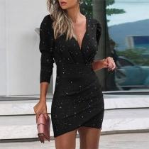 Sexy Deep V-neck Long Sleeve Irregular Hem Slim Fit Printed Dress