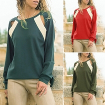 Fashion Contrast Color Long Sleeve Round Neck Hollow Out T-shirt