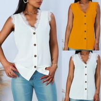 Fashion Solid Color Sleeveless V-neck Lace Spliced Top