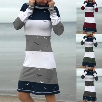Fashion Contrast Color Long Sleeve Cowl Neck Printed Dress