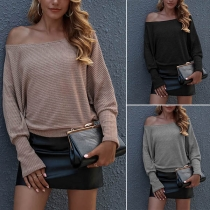 Simple Style Long Sleeve Boat Neck Solid Color Top