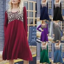 Fashion Leopard Spliced Long Sleeve Round Neck Dress