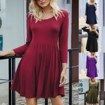 Simple Style Long Sleeve Round Neck High Waist Solid Color Dress