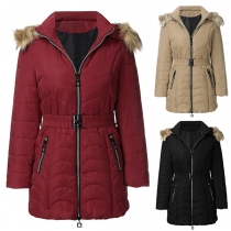 Fashion Solid Color Detachable Faux Fur Spliced Hooded Padded Coat