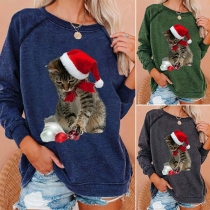 Cute Cat Printed Long Sleeve Round Neck Loose Sweatshirt